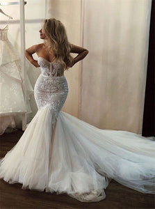 Mermaid Long Sleeve Backless Tulle Appliques Wedding Dresses