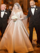 A Line V Neck Long Sleeve Appliques Satin Wedding Dresses