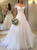A Line Off Shoulder Tulle Pleats Wedding Dresses