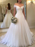 A Line Off Shoulder Tulle Pleats Wedding Dresses LBQW0104