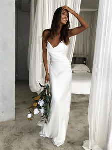 White Mermaid Spaghetti Straps Satin Wedding Dresses