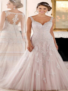 Pink Sweep Train Sleeveless Wedding Dresses