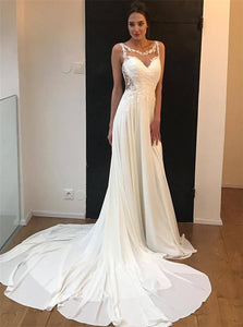 A Line Scoop Chiffon Appliques Wedding Dresses