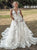 A Line Appliques Tulle White Wedding Dresses with Pocekts