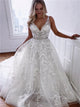 A Line V Neck Lace Wedding Dresses