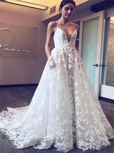 A Line Tulle Ivory Wedding Dresses with Sweep Train