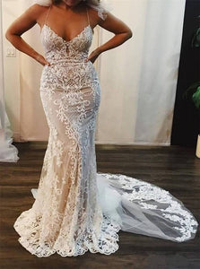 Mermaid Lace Appliques V Neck Ivory Wedding Dresses