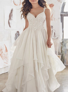 V Neck Chiffon Sleeveless Wedding Dresses with Sweep Train