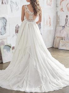 A Line V Neck White Ruffles Appliques Wedding Dress