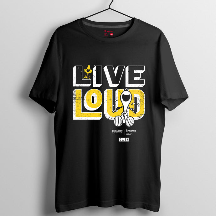 Snoopy Rebel with Paws 系列 T-shirt - Live Loud黃字(黑白兩色)