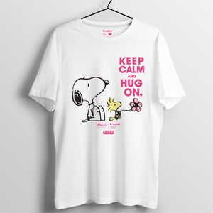 Snoopy KEEP CALM and HUG ON 系列 T-shirt - Snoopy與Woodstock粉紅字(黑白兩色)