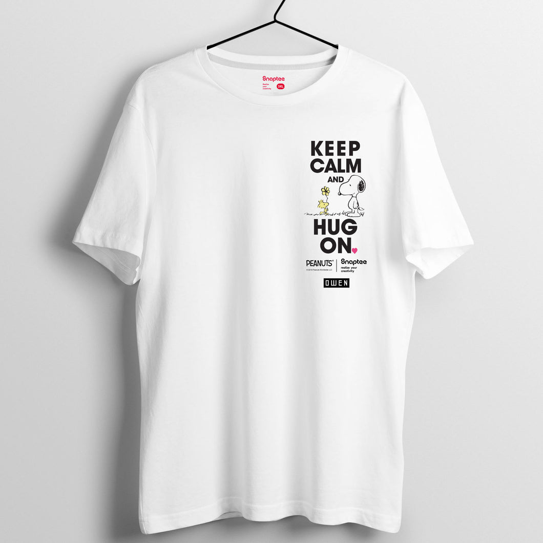 Snoopy KEEP CALM and HUG ON 系列 T-shirt - Snoopy與Woodstock右上角圖案 (黑白兩色)