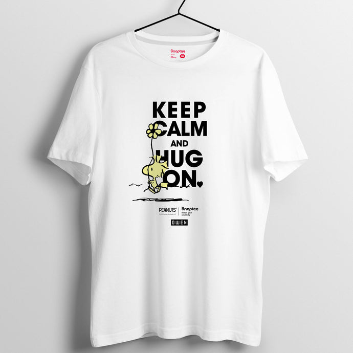 Snoopy KEEP CALM and HUG ON 系列 T-shirt - Woodstock(黑白兩色)