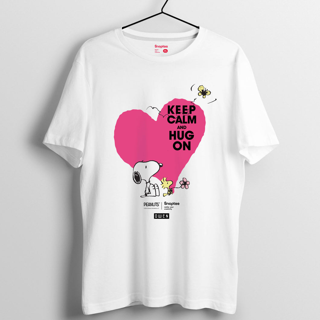 Snoopy KEEP CALM and HUG ON 系列 T-shirt - Snoopy與Woodstock愛心圖案(黑白兩色)