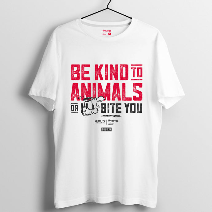 Snoopy Rebel with Paws 系列 T-shirt - Be Kind To Animals(黑白兩色)