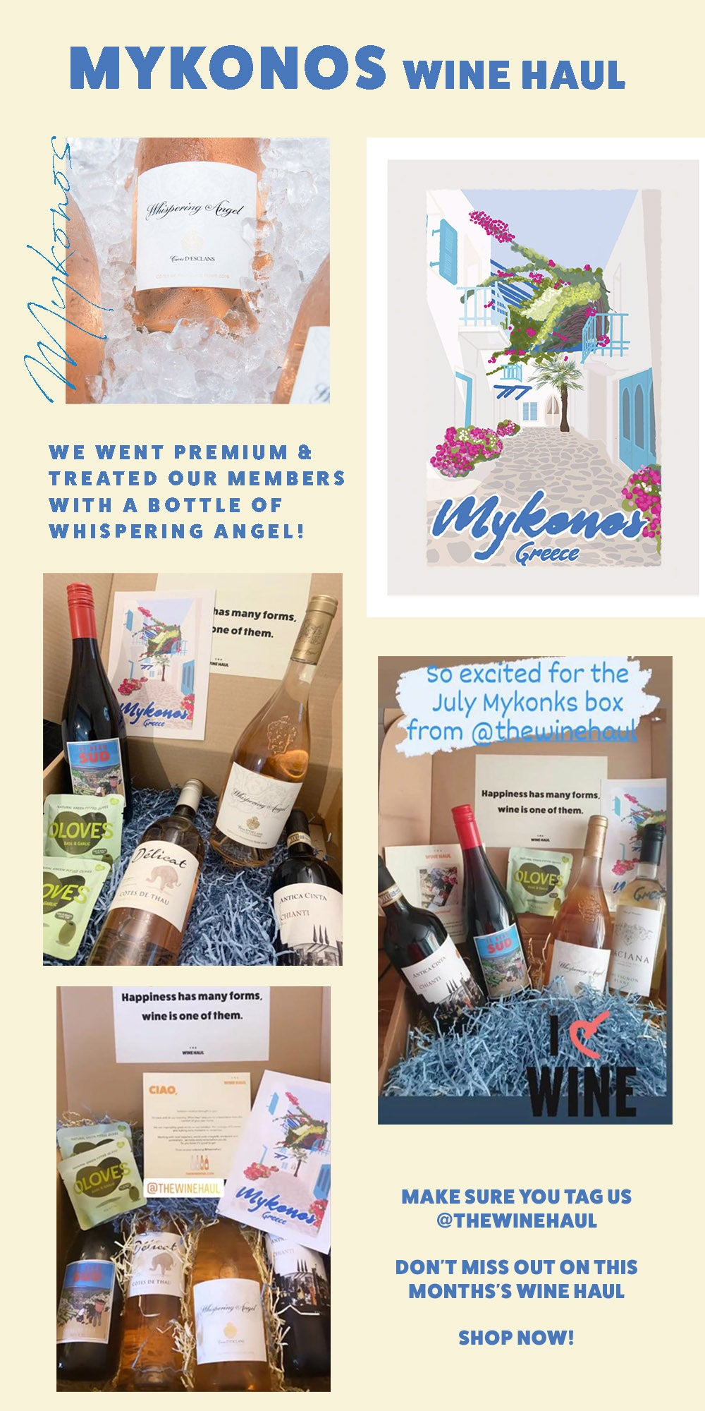 see our customers Mykonos box images. Shop ibiza wine haul now.