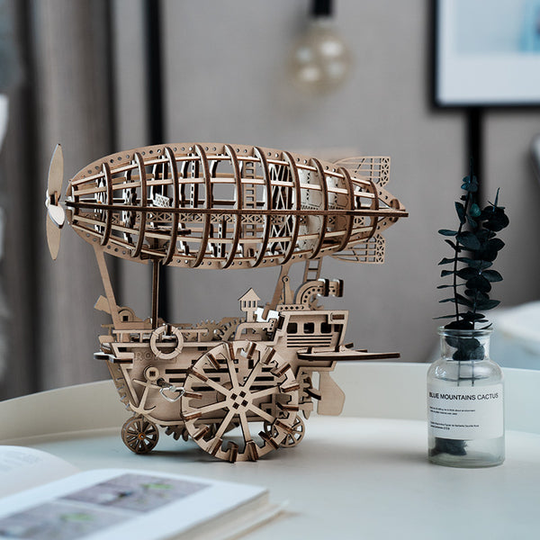 DIY 3D Wooden Puzzle Moveable Airship