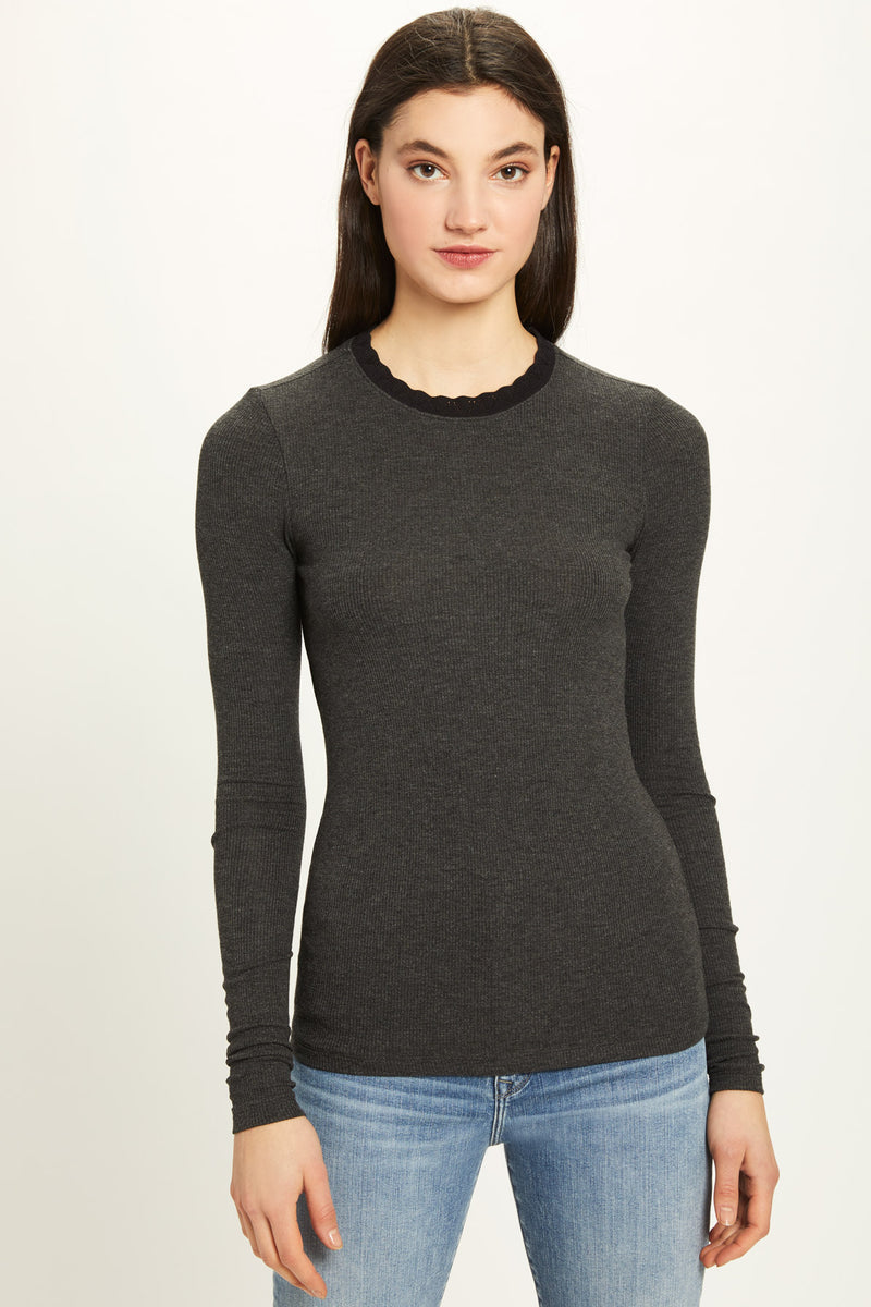 Ribbed Long Sleeve Pointelle Ringer Tee - Goldie