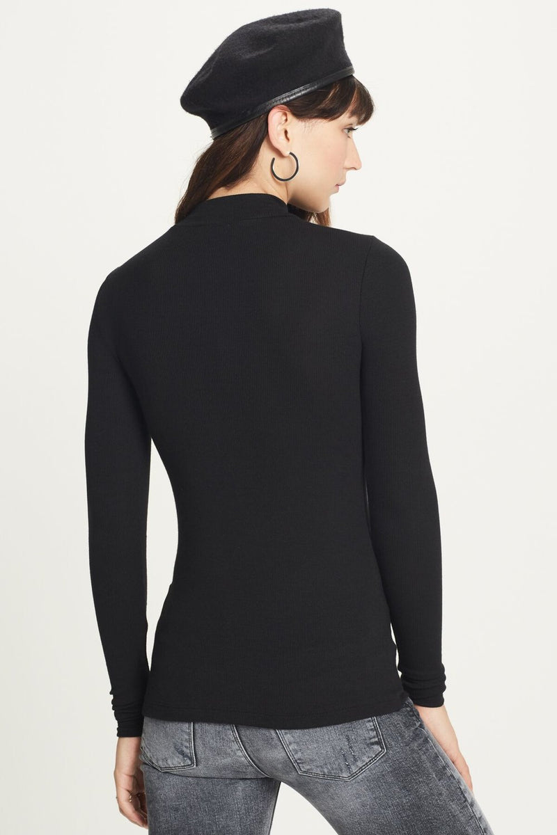 Ribbed Long Sleeve Mock Tee