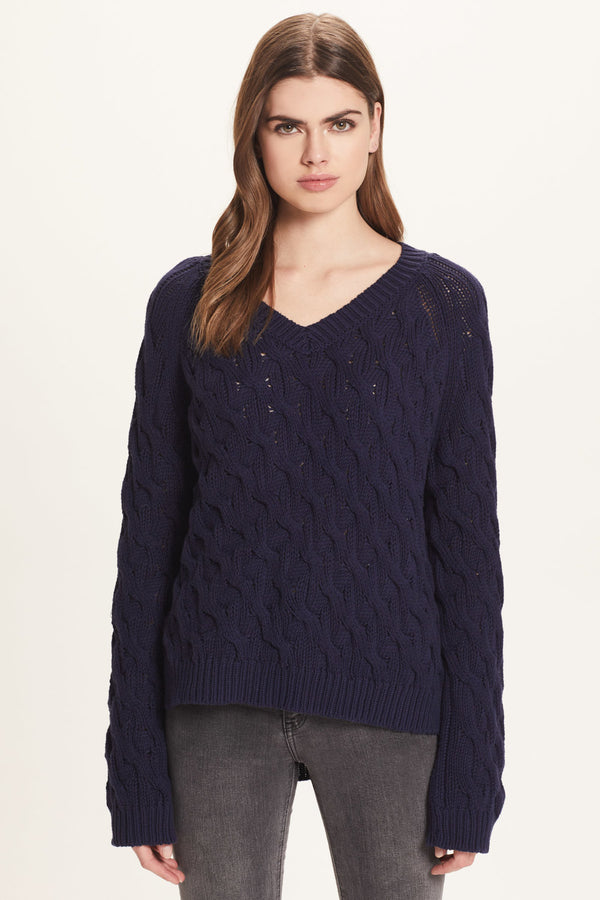 Cotton Cable V Neck Sweater