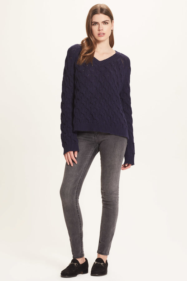 Cotton Cable V Neck Sweater - Goldie