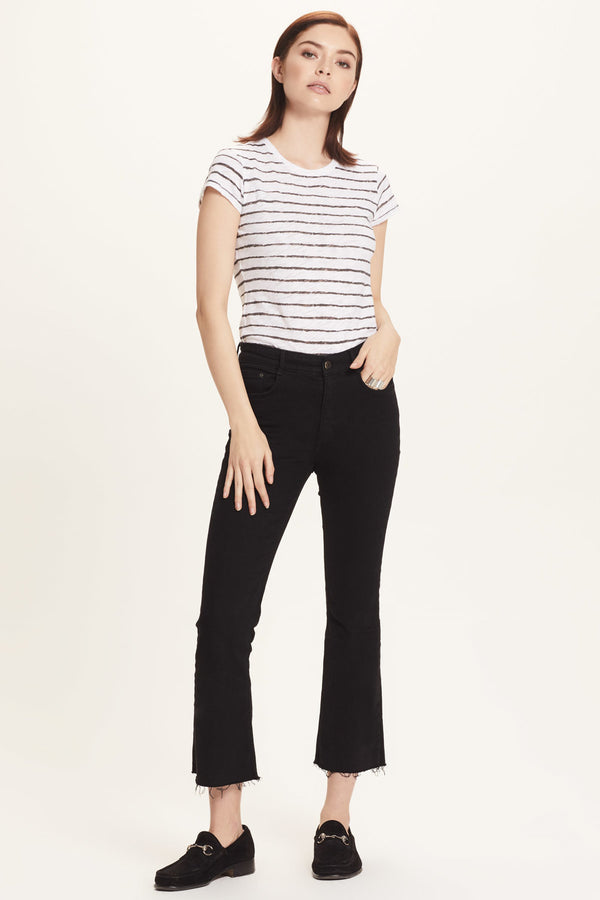Wide Stripe Ringer Tee - Goldie