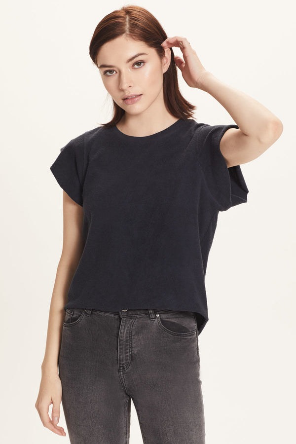 French Terry Sleeveless Ruffle Sweatshirt