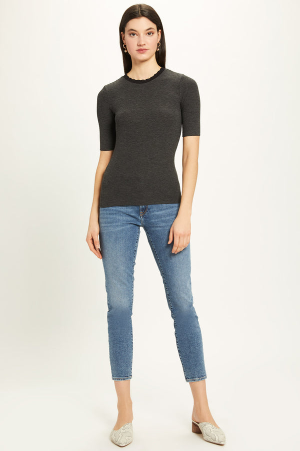 Ribbed Half Sleeve Pointelle Ringer Tee - Goldie