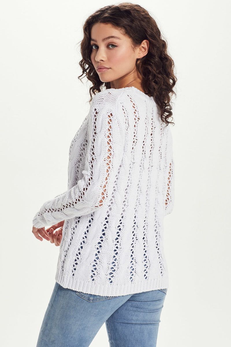 Cotton Cable Crewneck Sweater - Goldie