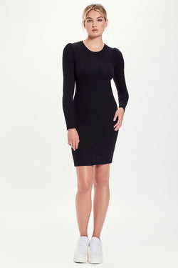 Ribbed Long Sleeve Puff Shoulder Dress