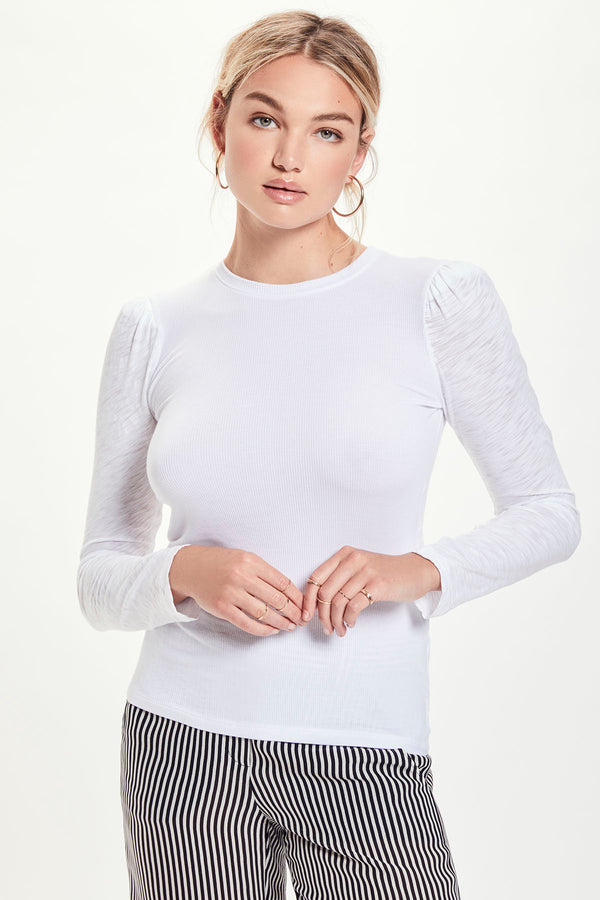 Dual Fabric Long Sleeve Puff Shoulder Tee