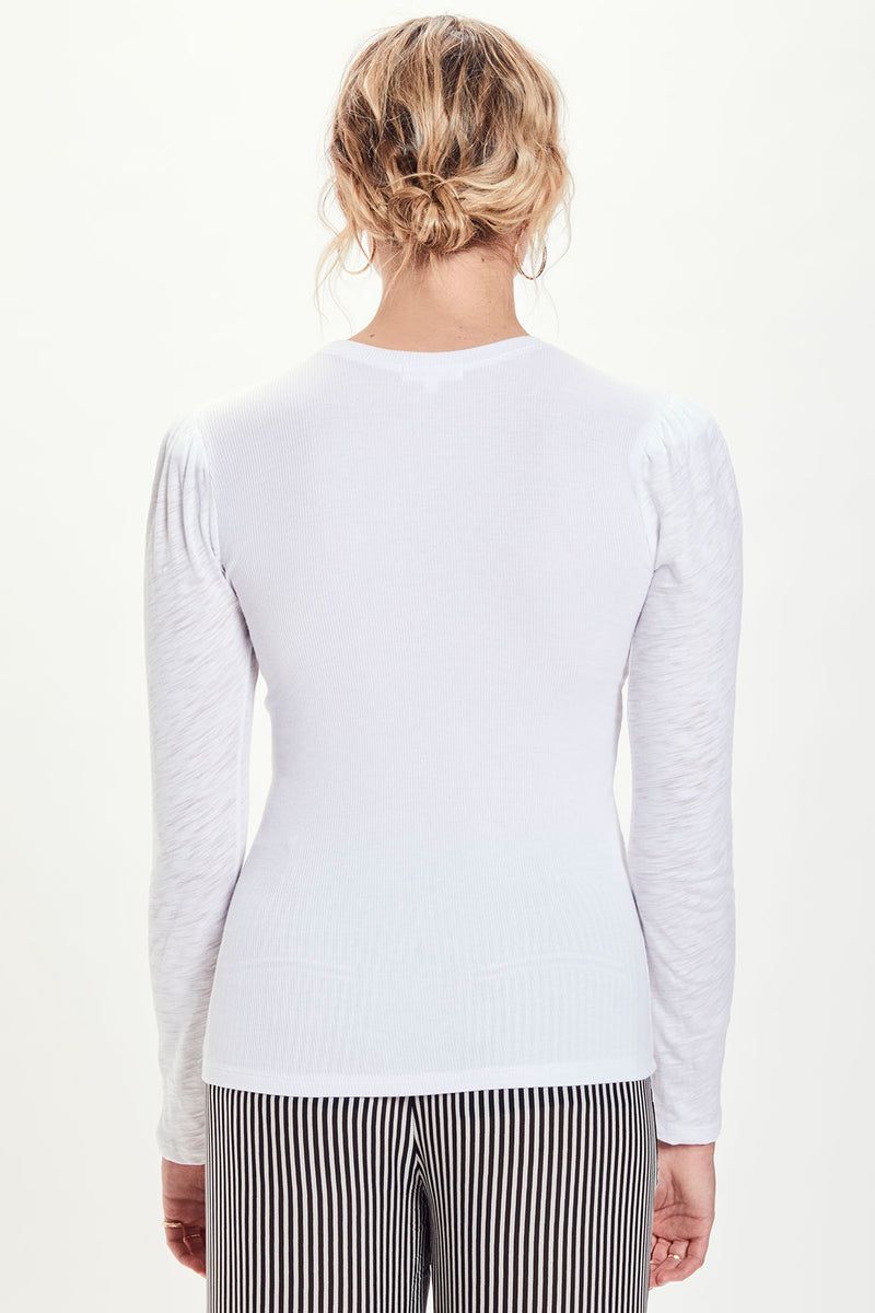 Dual Fabric Long Sleeve Puff Shoulder Tee - Goldie
