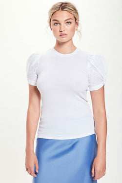 Dual Fabric Mutton Sleeve Tee - Goldie