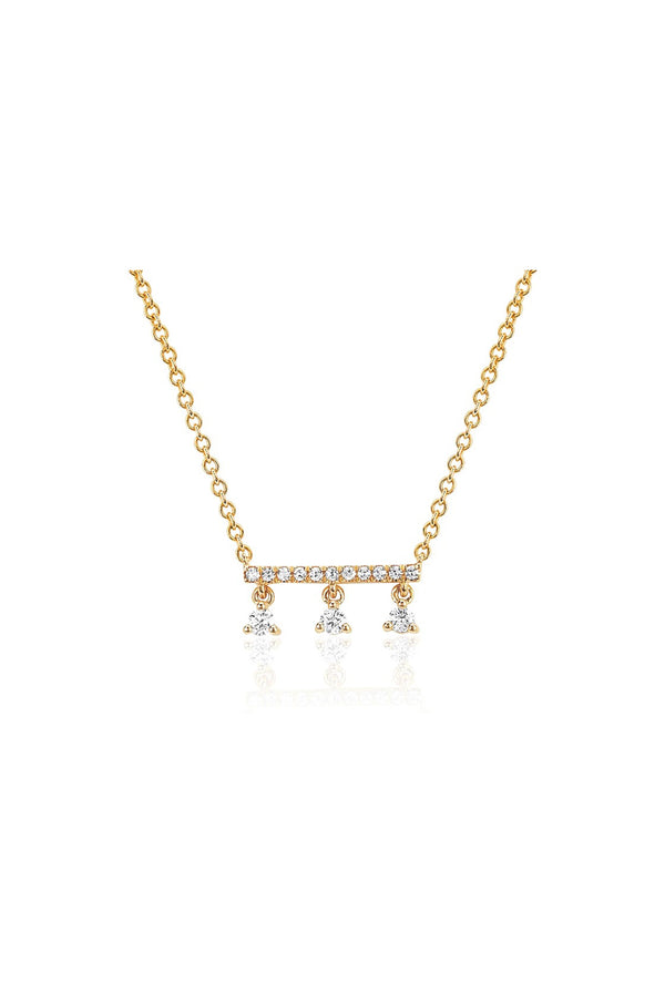 Diamond Bar With Three Prong Set Diamonds Necklace - Goldie