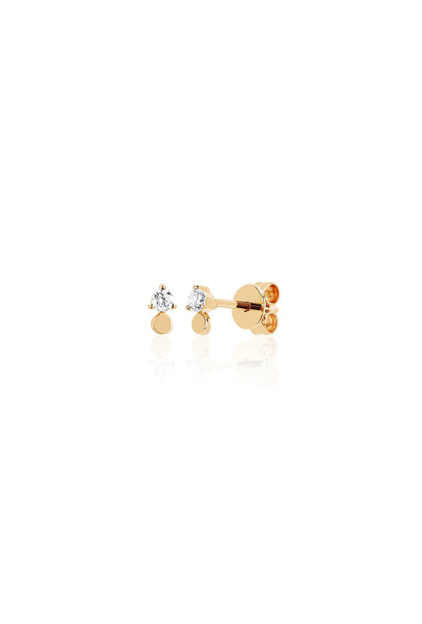 Gold Disc With Prong Set Diamond Stud Earring - Goldie