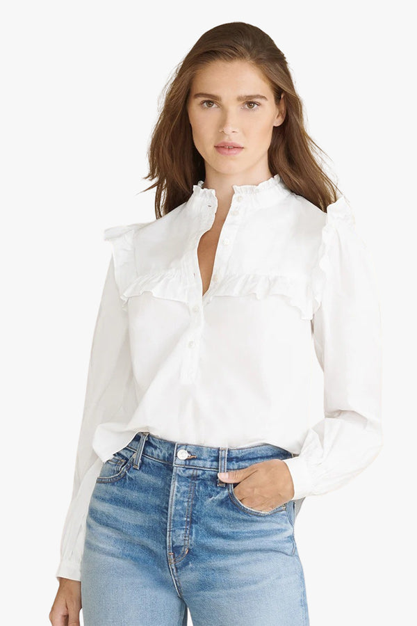 Sonnet Ruffled Button-Down Shirt - Goldie