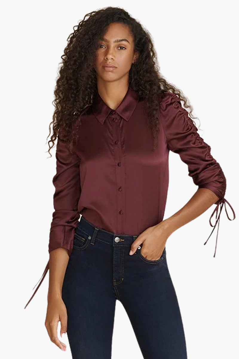 Lillian Ruched Sleeve Blouse - Goldie