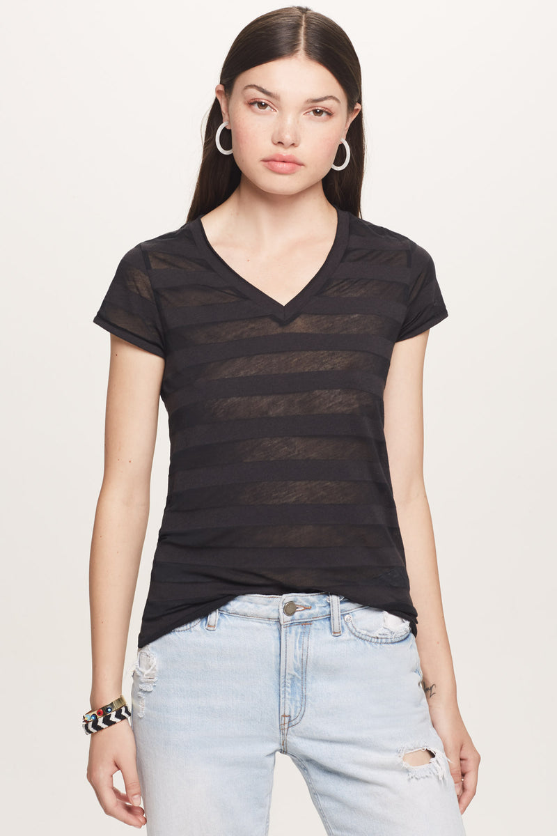 Shadow Stripe Classic V Neck Tee - Goldie