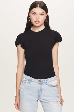 Ribbed Ruffle Sleeve Tee - Goldie