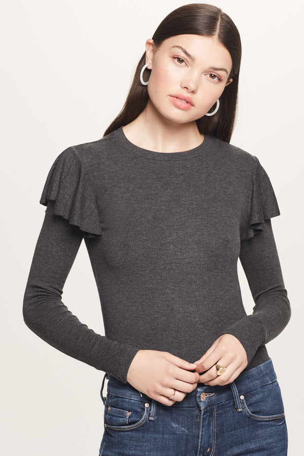 Ribbed Long Sleeve Ruffle Tee - Goldie
