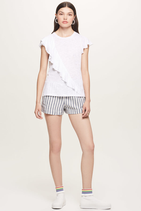 Sleeveless Cross Ruffle Tee