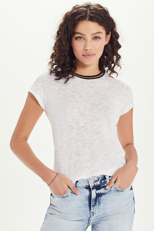 Metallic Tipped Ringer Tee - Goldie