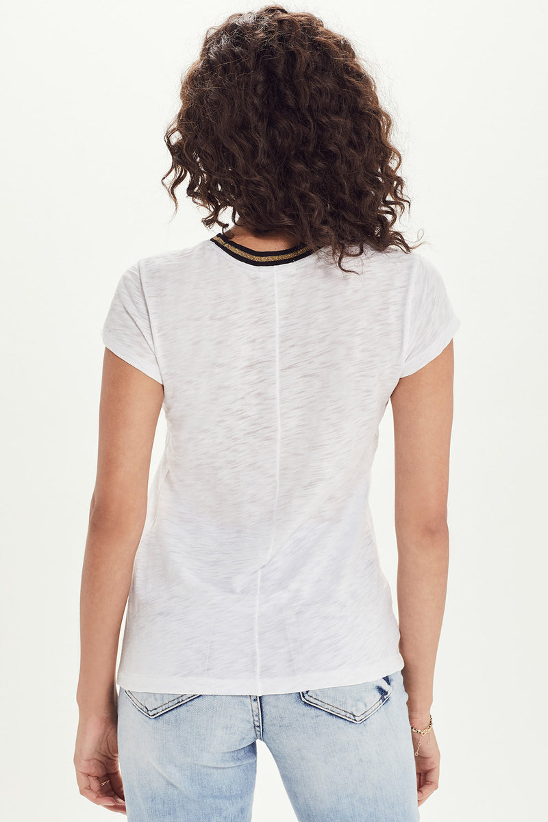 Metallic Tipped Ringer Tee