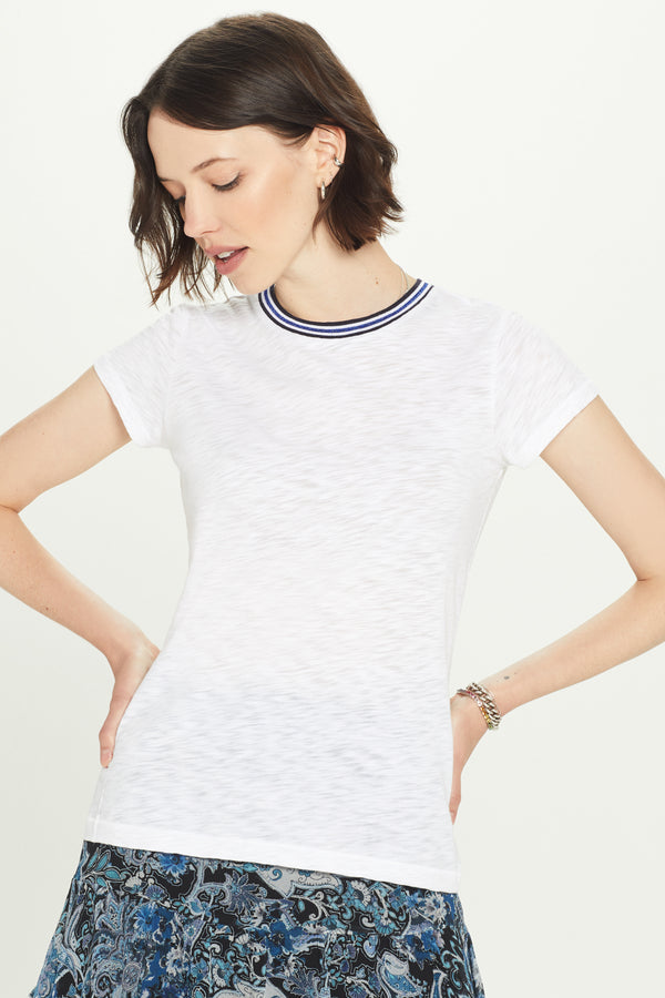 Shimmer Tipped Ringer Tee - Goldie