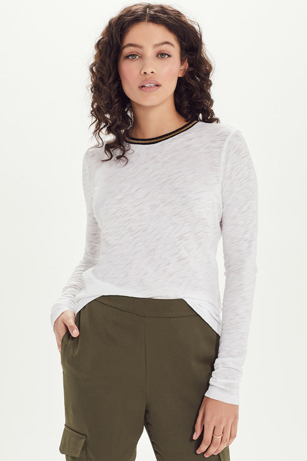 Long Sleeve Metallic Tipped Ringer Tee - Goldie