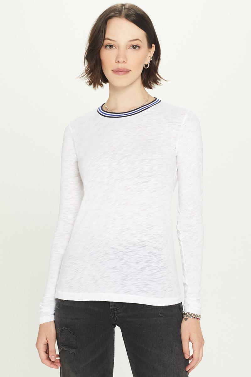 Long Sleeve Shimmer Tipped Ringer Tee - Goldie