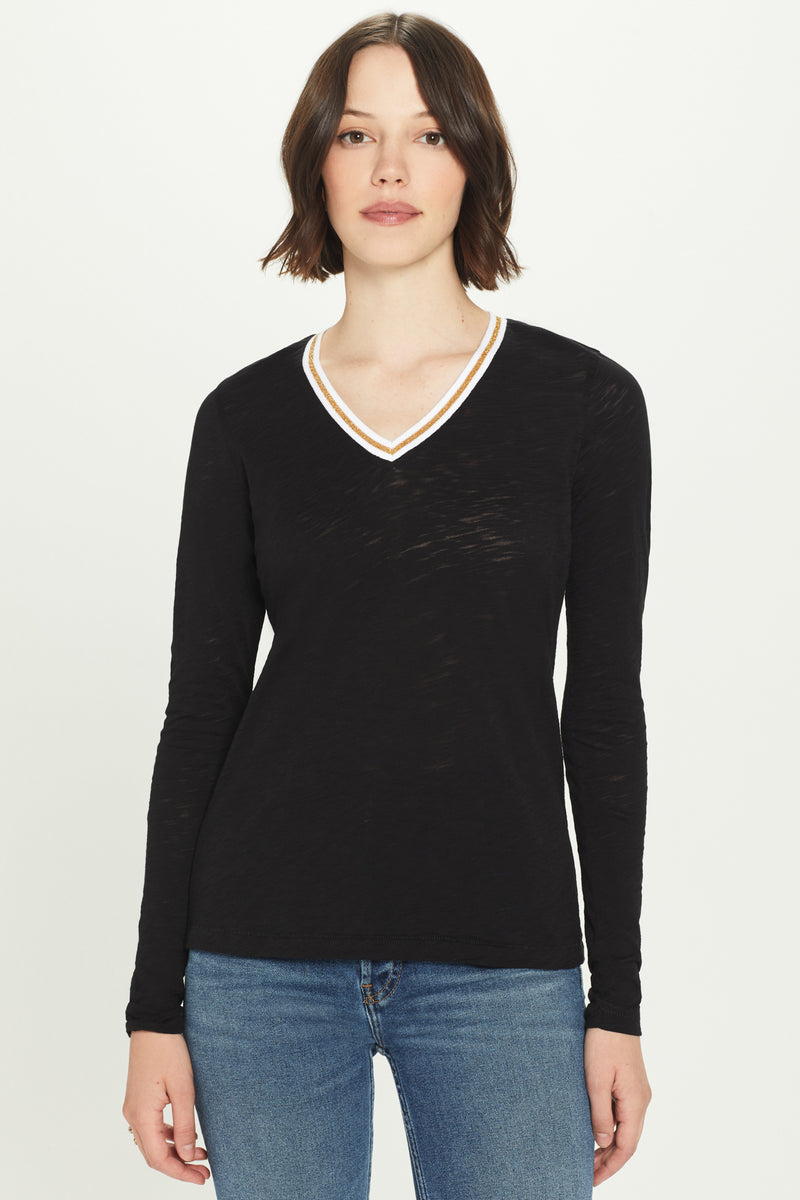 Long Sleeve Metallic Tipped V Neck Tee - Goldie