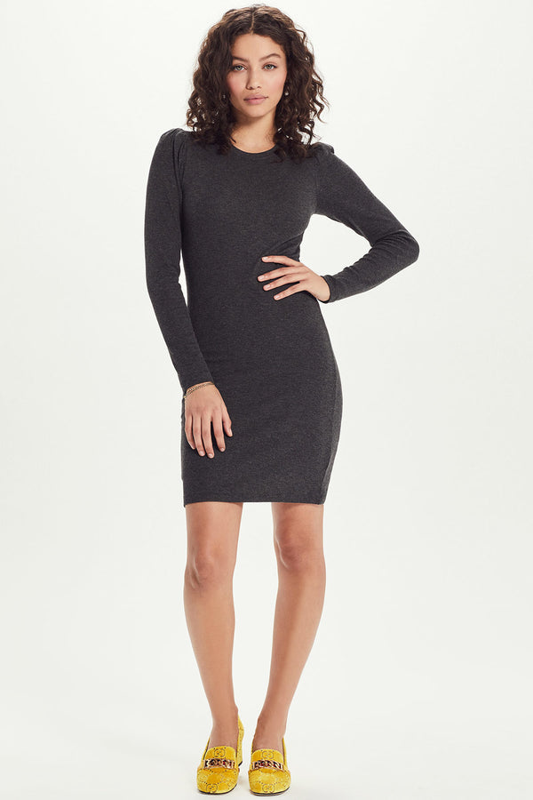 Ribbed Long Sleeve Puff Shoulder Dress - Goldie