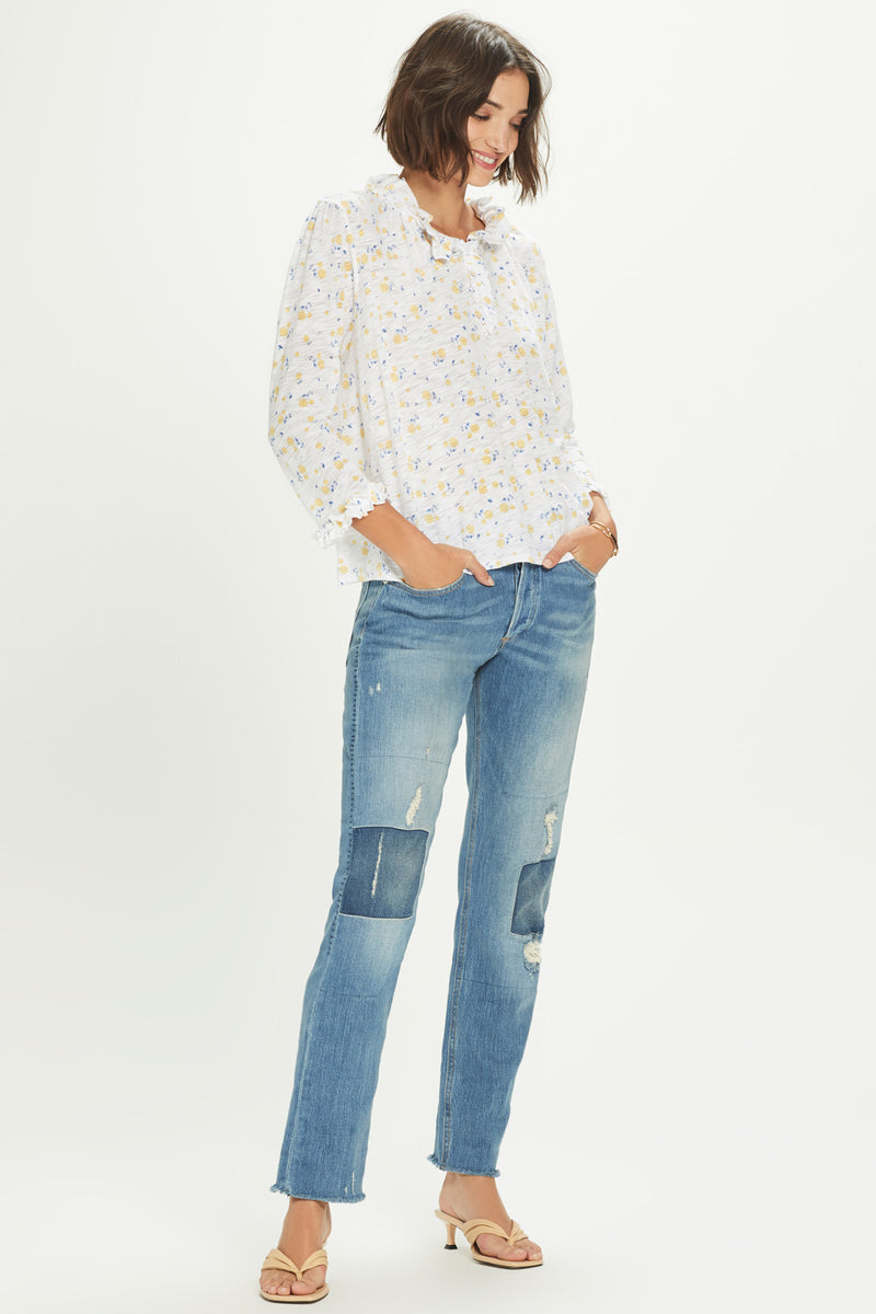 Ditsy Floral Peasant Blouse - Goldie