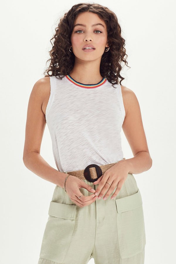 Rainbow Tipped Crew Tank - Goldie